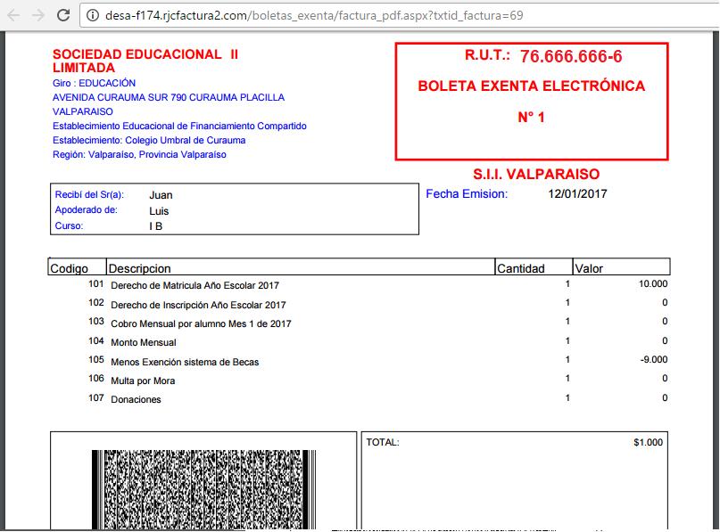 Boleta Exenta Factura Exenta Electronica 500 Dte 1